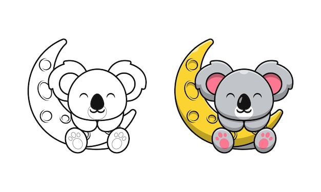 Cute koala on moon cartoon coloring pages for kids