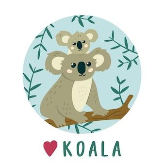 Cute koala mother with baby koala.