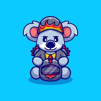 Cute koala motorcycle gang member