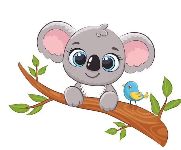 Милая коала на дереве с птицей. векторная иллюстрация мультфильма.