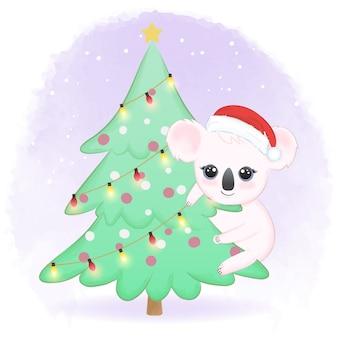 겨울에 소나무에 귀여운 코알라 손으로 그린 수채화 그림