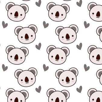 Cute koala pattern with heart