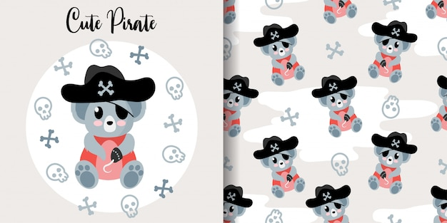 Cute koala pirate animal seamless pattern with baby card