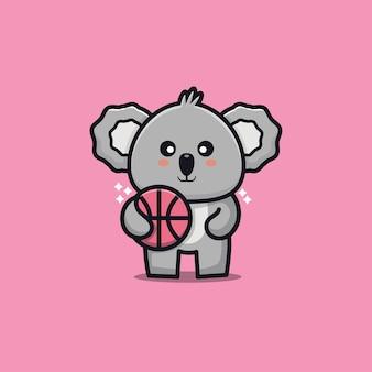 Cute koala play basketball cartoon illustration