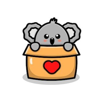 Cute koala play in box cartoon illustration