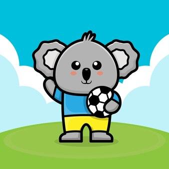 Cute koala play football