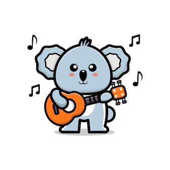 Cute koala playing a guitar