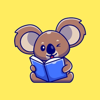 Cute koala reading book cartoon illustration