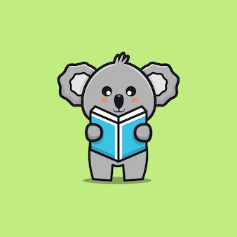 Cute koala reading book cartoon illustration