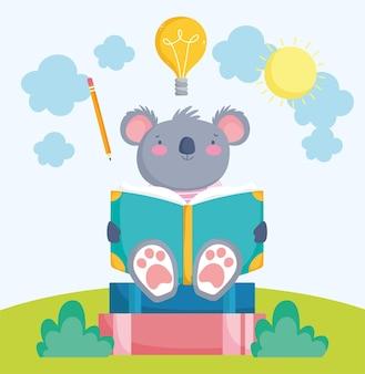 Cute koala reading book