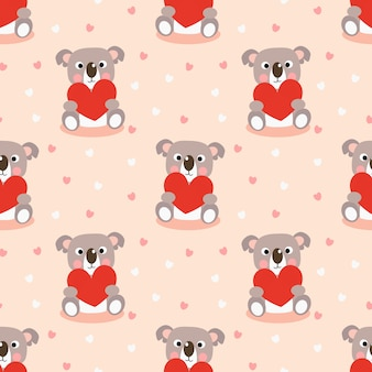 Cute koala and red heart seamless pattern.