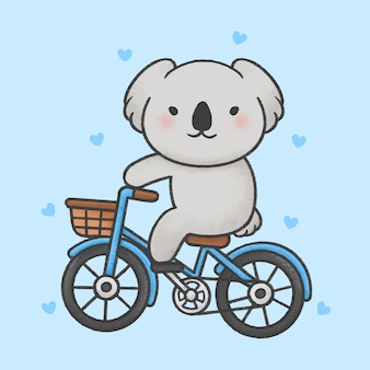 Cute koala riding a bicycle cartoon hand drawn style