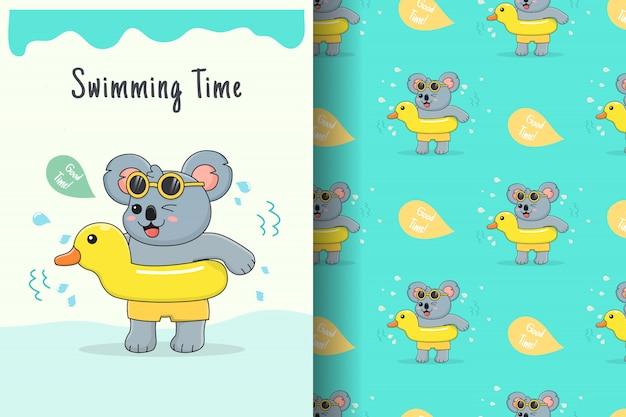 Cute koala rubber duck seamless pattern and card
