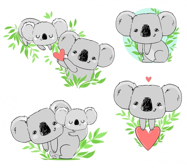 Cute koala set beautiful childish print, hand drawn animal illustration.