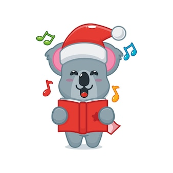 Cute koala sing a christmas song cute christmas cartoon illustration
