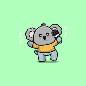 Cute koala singing cartoon illustration