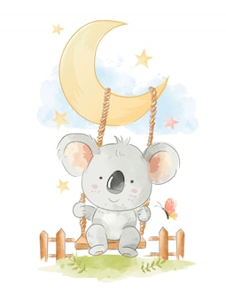 Cute koala siting on swing illustration