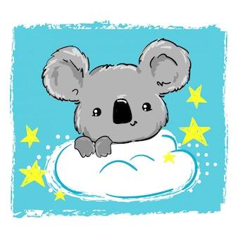 雲と星のイラストの上に座ってかわいいコアラ。