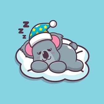 かわいいコアラ睡眠漫画ベクトルイラスト