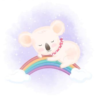 무지개 손으로 그린 그림에 귀여운 코알라 수면