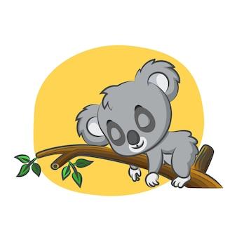 Cute koala sleeping in day on branch of tree