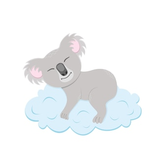 幼稚なスタイルで雲のオーストラリアのクマのキャラクターで眠っているかわいいコアラ