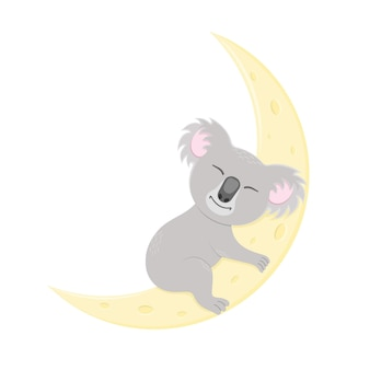 Милая коала спит на луне сладкий австралийский медведь в детском стиле