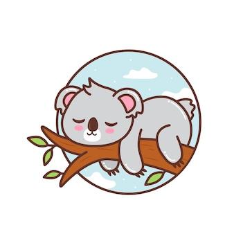 Cute koala sleeping in the tree branch