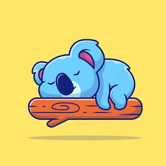 Cute koala sleeping on tree cartoon illustration