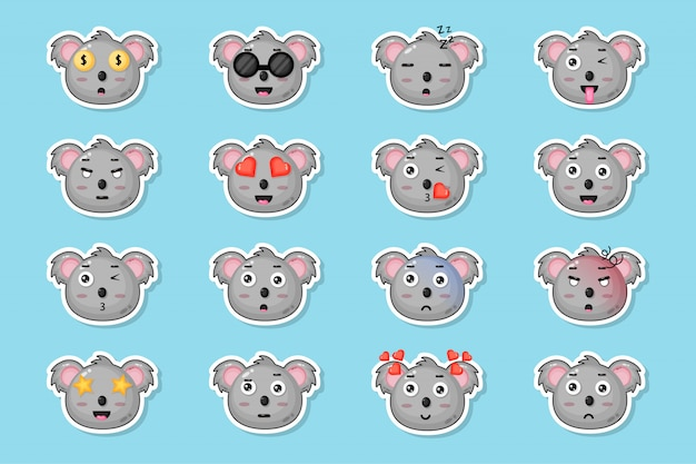 Cute koala sticker set