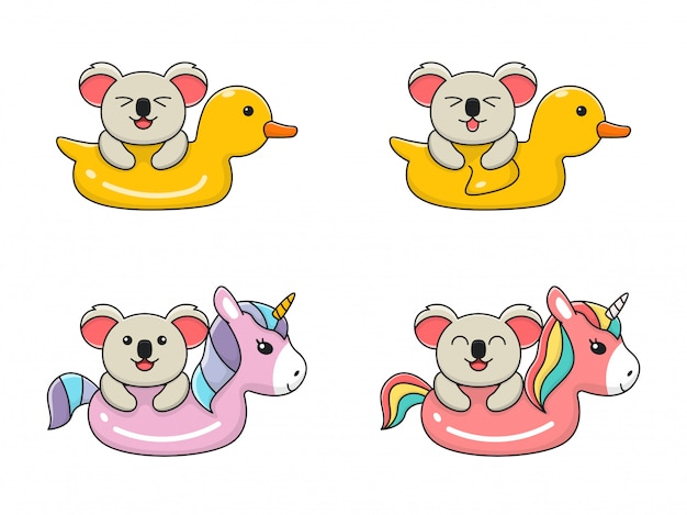 Cute koala swimming with unicorn and duck swim ring