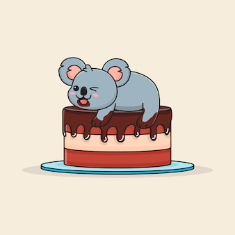 Cute koala on top of chocolate cake
