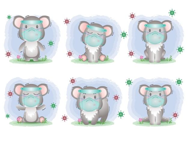 Симпатичная коала, использующая щит для лица и коллекцию масок