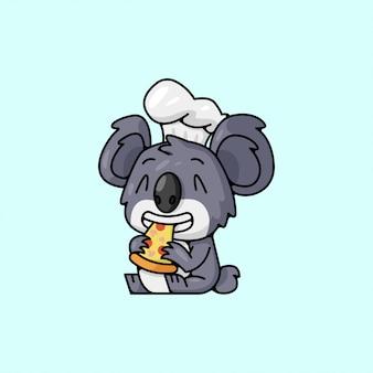 Cute koala wearing chef hat eating pizza