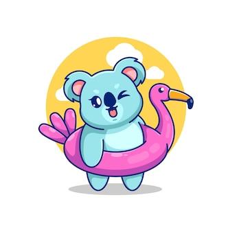 フラミンゴ浮き輪の漫画を着ているかわいいコアラ