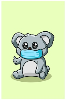 Cute koala wearing mask kawaii cartoon illustration