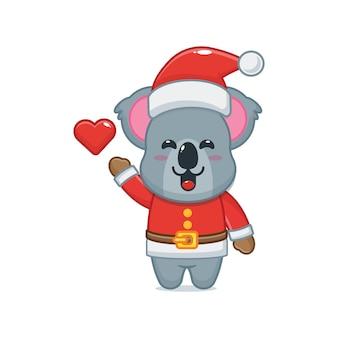 Cute koala wearing santa costume cute christmas cartoon illustration