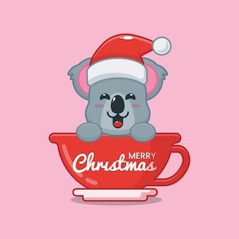 Cute koala wearing santa hat in cup cute christmas cartoon illustration