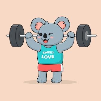 Cute koala weightlifting