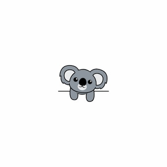Cute koala over white wall, vector illustration