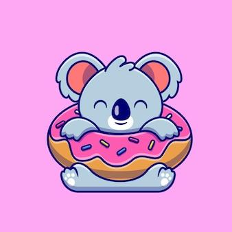 大きなデザート漫画アイコンイラストとかわいいコアラ。分離された動物食品アイコンの概念。フラット漫画スタイル
