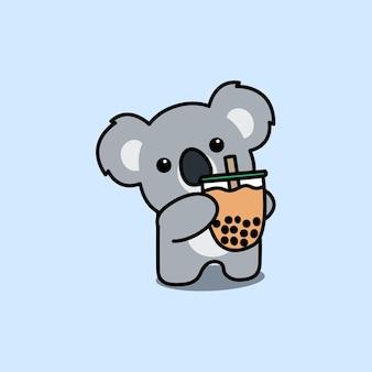 Cute koala with bubble tea cartoon, vector illustration