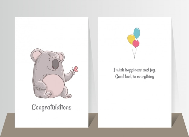 Cute koala with butterfly on finger. hand drawn doodle poster template with airballs. cute cartoon bear character