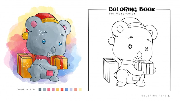 Cute koala with christmas gift wear santa's hat, cartoon illustration for watercolor coloring book.