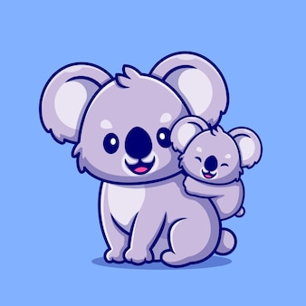 Cute koala with cub cartoon icon illustration.