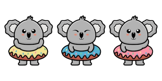 Милая коала с пончиком иллюстрации шаржа