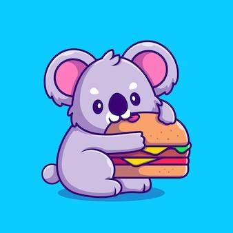 햄버거 만화 아이콘 그림을 먹는 귀여운 코알라. 동물 음식 아이콘 개념입니다. 플랫 만화 스타일