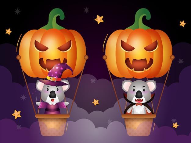 Cute koala with halloween costume on pumpkin air balloon