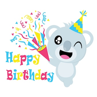 Cute koala with hat vector cartoon, birthday postcard, wallpaper, and greeting card, t-shirt design for kids