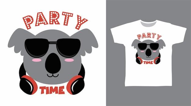 Милая коала с дизайном футболки для наушников